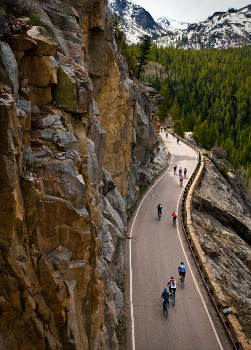 Cyclists riding Independence Pass in Colorado.