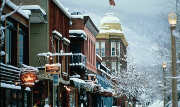 A snowy street in Aspen - The Little Nell Pearl Anniversary Celebration